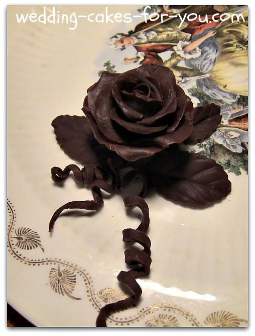Chocolate rose made from modeling paste