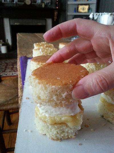 Layers of coconut cake with filling