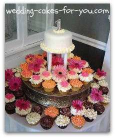 cupcakes on a silver cake stand