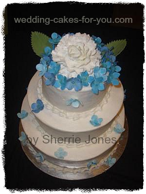 49th Wedding Anniversary Gift Ideas For Parents : Pretty Blue and White Wedding Cake by Sherrie Jones