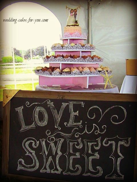Sarah and Mikes cupcake wedding cake