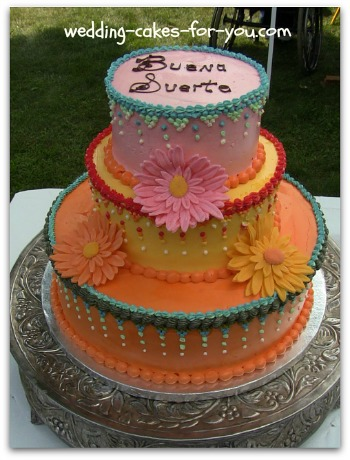 Mexican Theme Cake with Gumpaste Gerbera Daisies