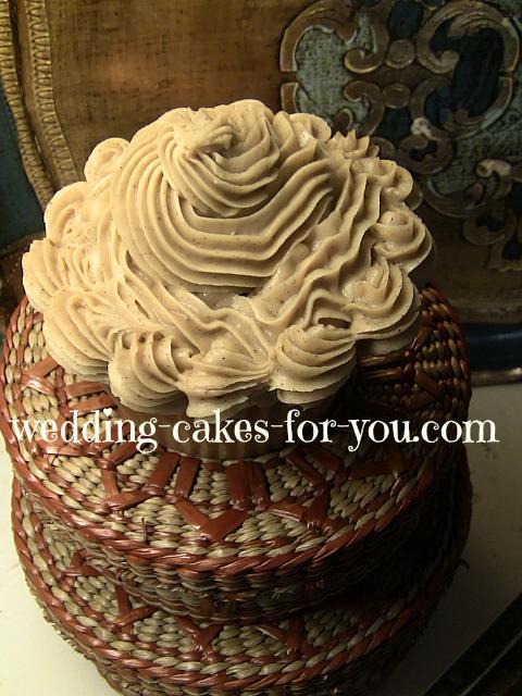 caramel icing on a cupcake