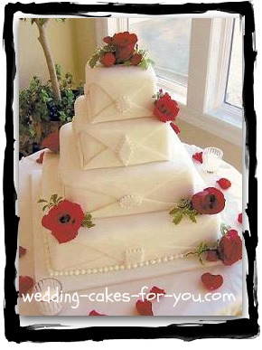 square wedding cake with chocolate fondant decoration