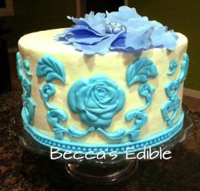 Pretty little blue themed cake by Beccas Edibles