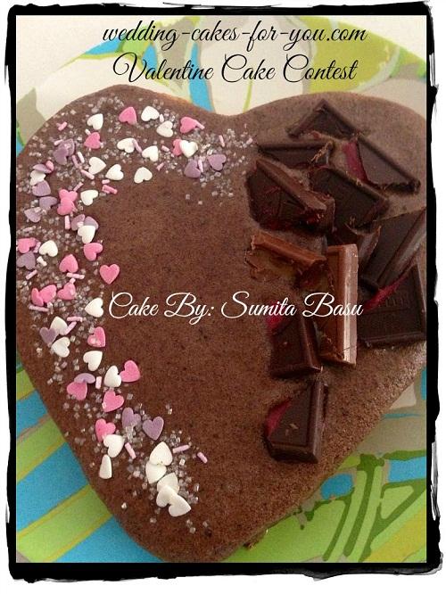 Chocolate and raspberry heart cake by Sumita Basu