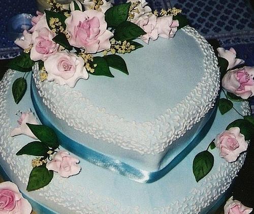Blue Heart Wedding Cake