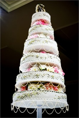 six tiered wedding cake