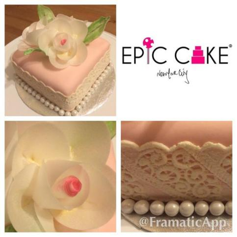 Sugar veil and rice paper flowers by Epic Cake