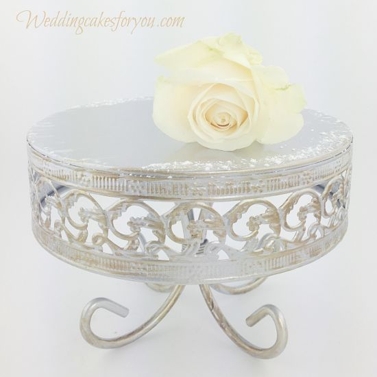 Close up of a rustic cake stand