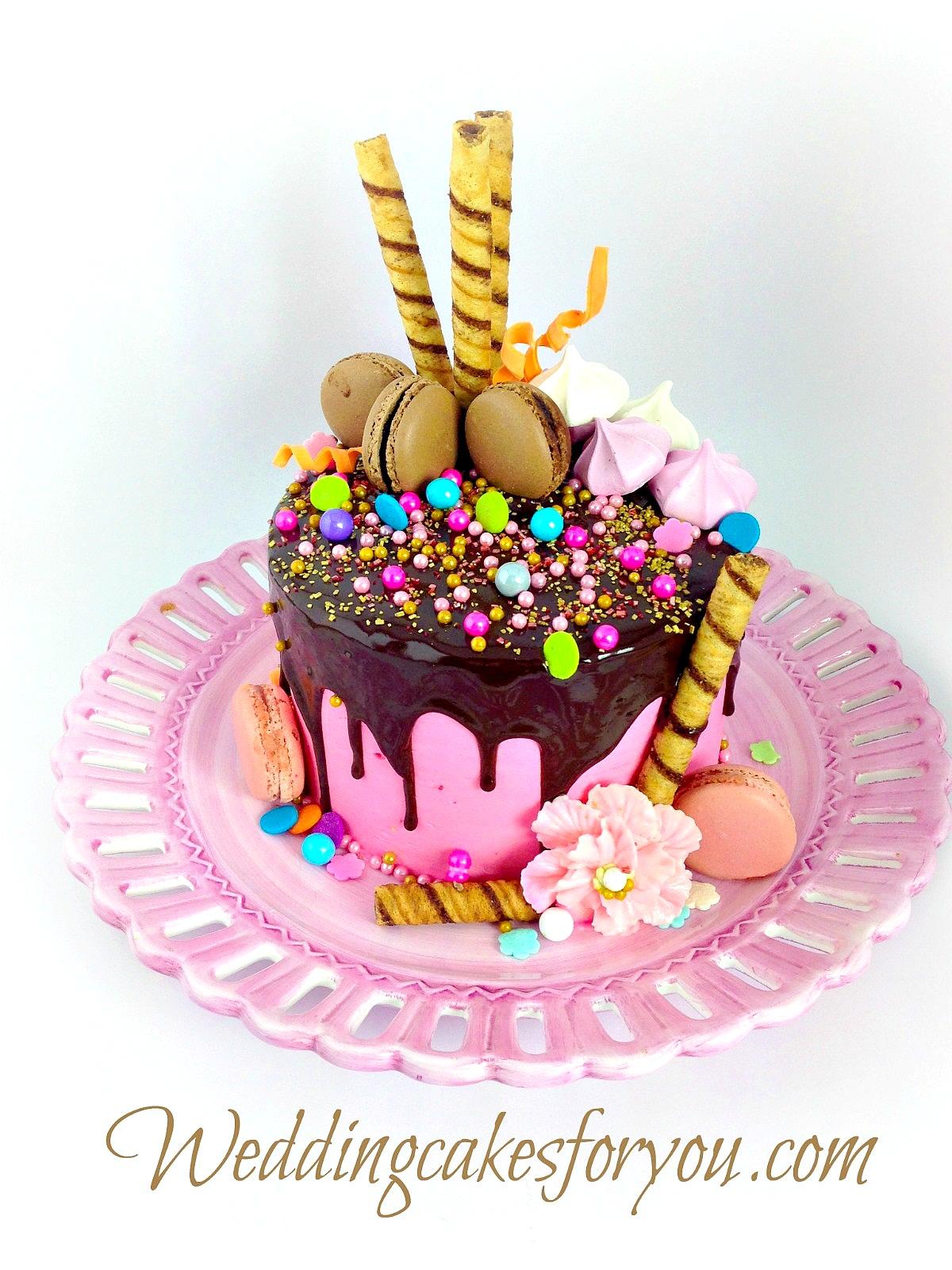 chocolate drip cake loaded up