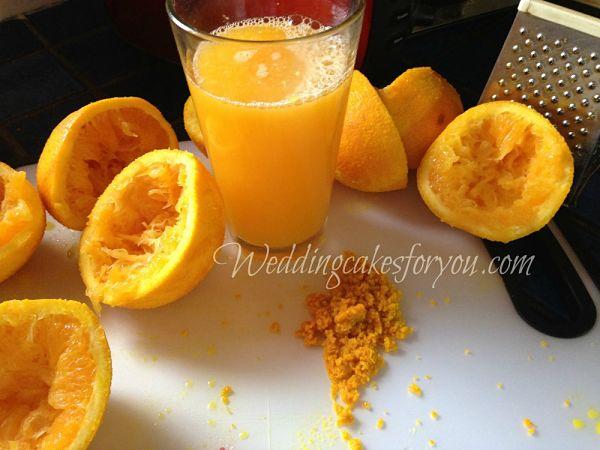 Orange zest and fresh squeezed orange juice