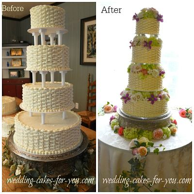 A 4 tiered wedding cake with spiked pillars