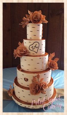 Birch Bark Tree Wedding Cake
