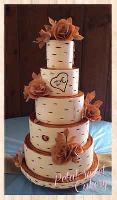Birch Bark Tree Burlap Sugar Roses Wedding Cake