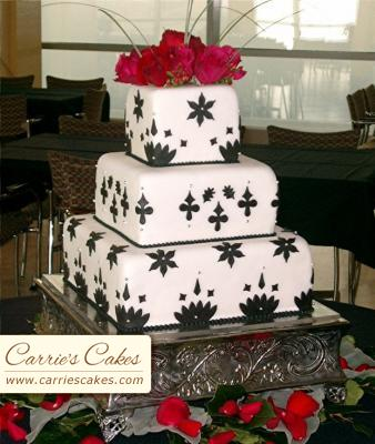 black-and-white-wedding-cakes. Cake by Carrie's Cakes