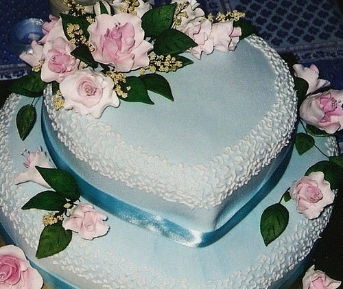 Blue Heart Wedding Cake