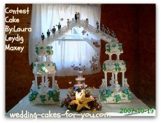 wedding cake with fountain and stairs