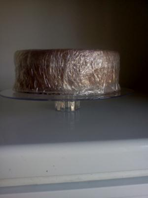 a plate with a cake on it