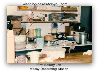 Messy Cake Station At First Bakery Job In California-1985
