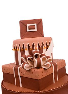 Whimsical chocolate wedding cake