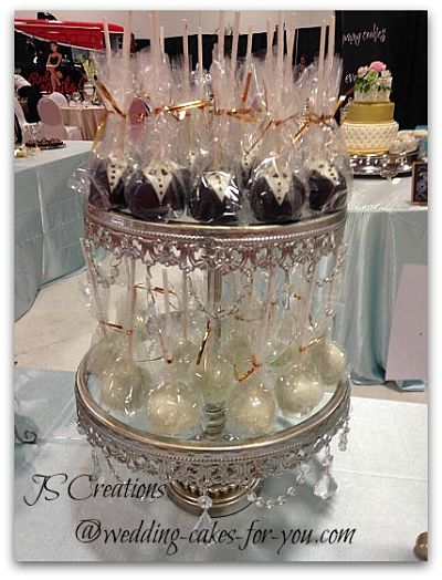 Bride and groom cake Pops by JS Creations