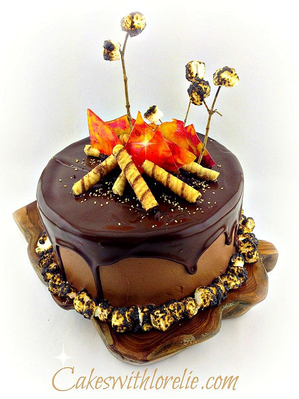 campfire cake with chocolate ganache drip