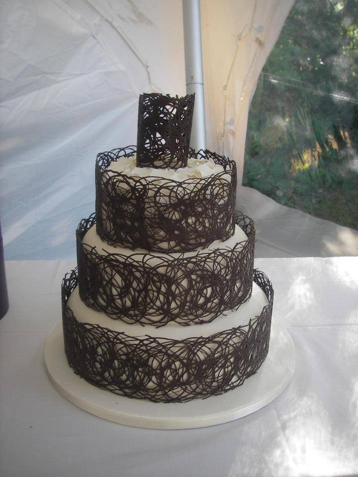 Chocolate Decorated Wedding Cake by Alana Lily Chocolates and Cakes