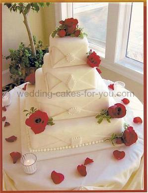 A Square Fondant Wedding Cake