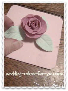 A fondant rose with leaves