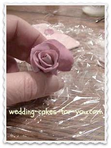 A fondant rose half done