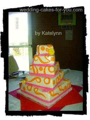 orange and pink funky wedding cake