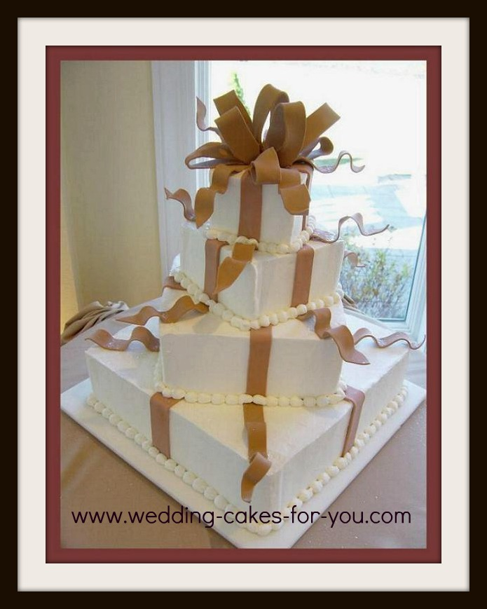 A square whimsical wedding cake
