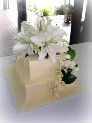 Two tier textured ganache wedding cake