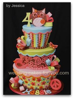 Awesome Groovy Owl Birthday Cake Funny Birthday Cards Online Elaedamsfinfo