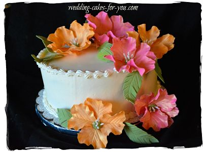 A tropical wedding cake