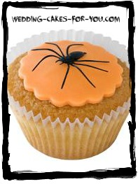 halloween cupcake with a spider