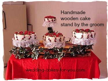 Handmade wooden cake stand made by the groom