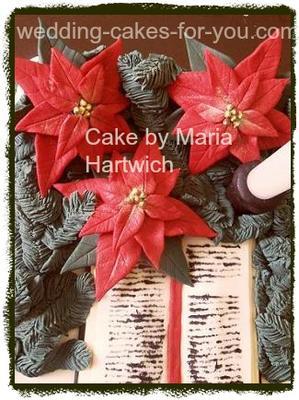 Christmas cake with pointsettas