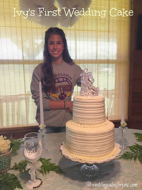 Ivy and her first wedding cake