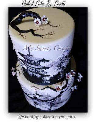 Japanese themed hand painted cake