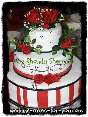 red and white fondant cake
