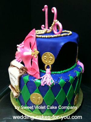 Side view of cake to feature tassles