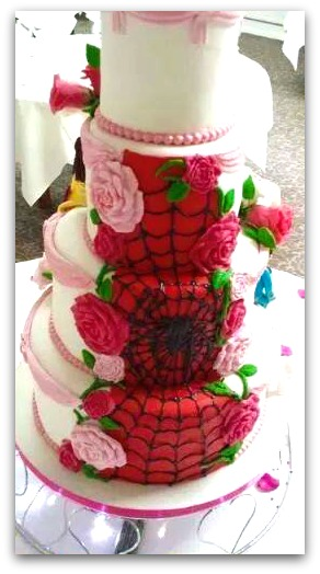 A spider web design on a whimsical cake by My Darlin Cakes