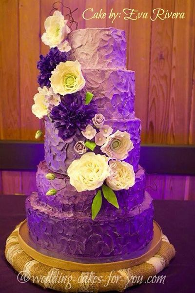 Ombre Rustic Wedding Cake by Eva Rivera