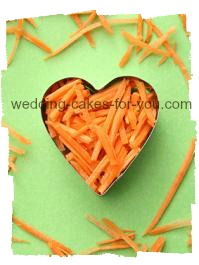 grated carrots in a heart shaped cookie cutter