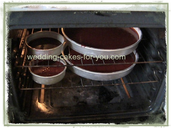chocolate cakes in the oven