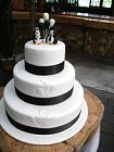 Cake with penguin bride and groom