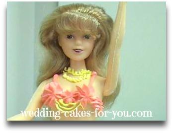 close up of a barbie doll cake