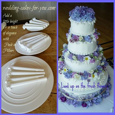 wedding cake with fresh flowers and pillared